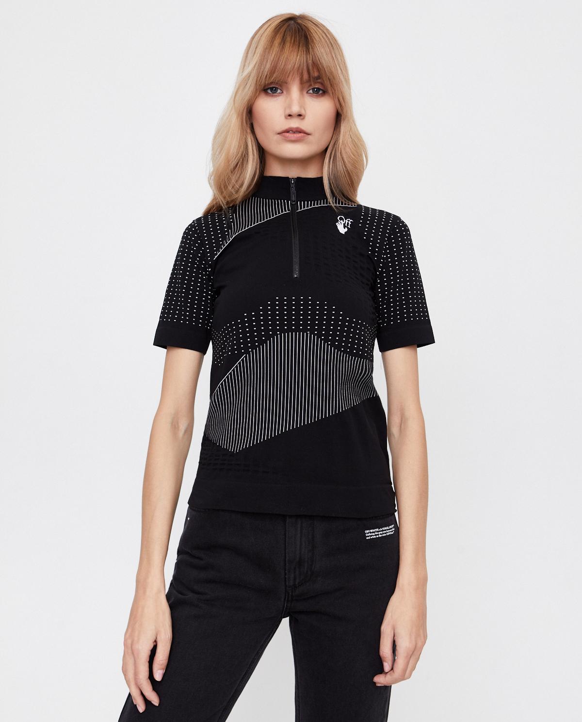 Damski czarny t-shirt z suwakiem Off-white OWVA011F20KNI0011001