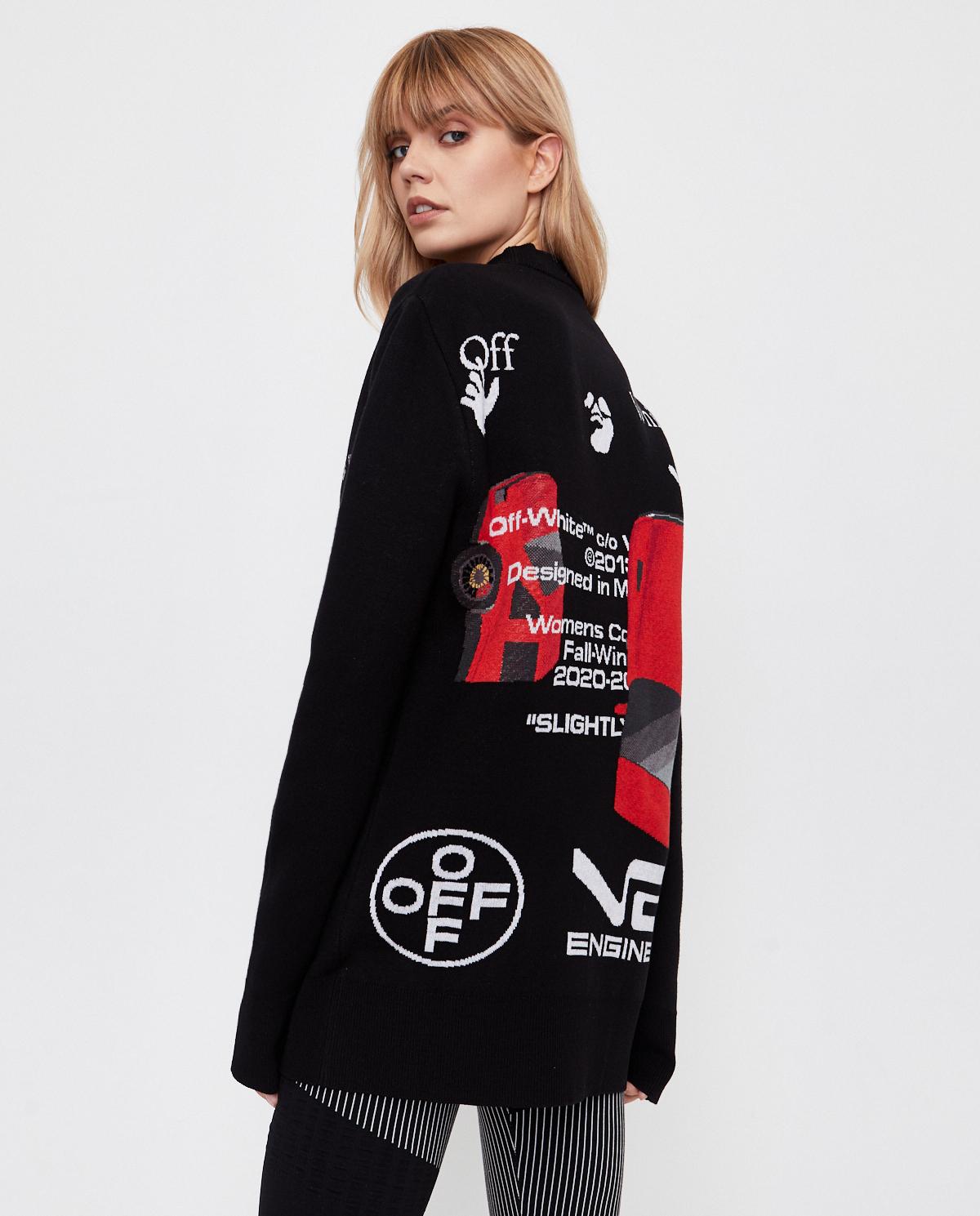 Czarny sweter z grafiką na plecach Off-white OWHE015F20KNI0011001