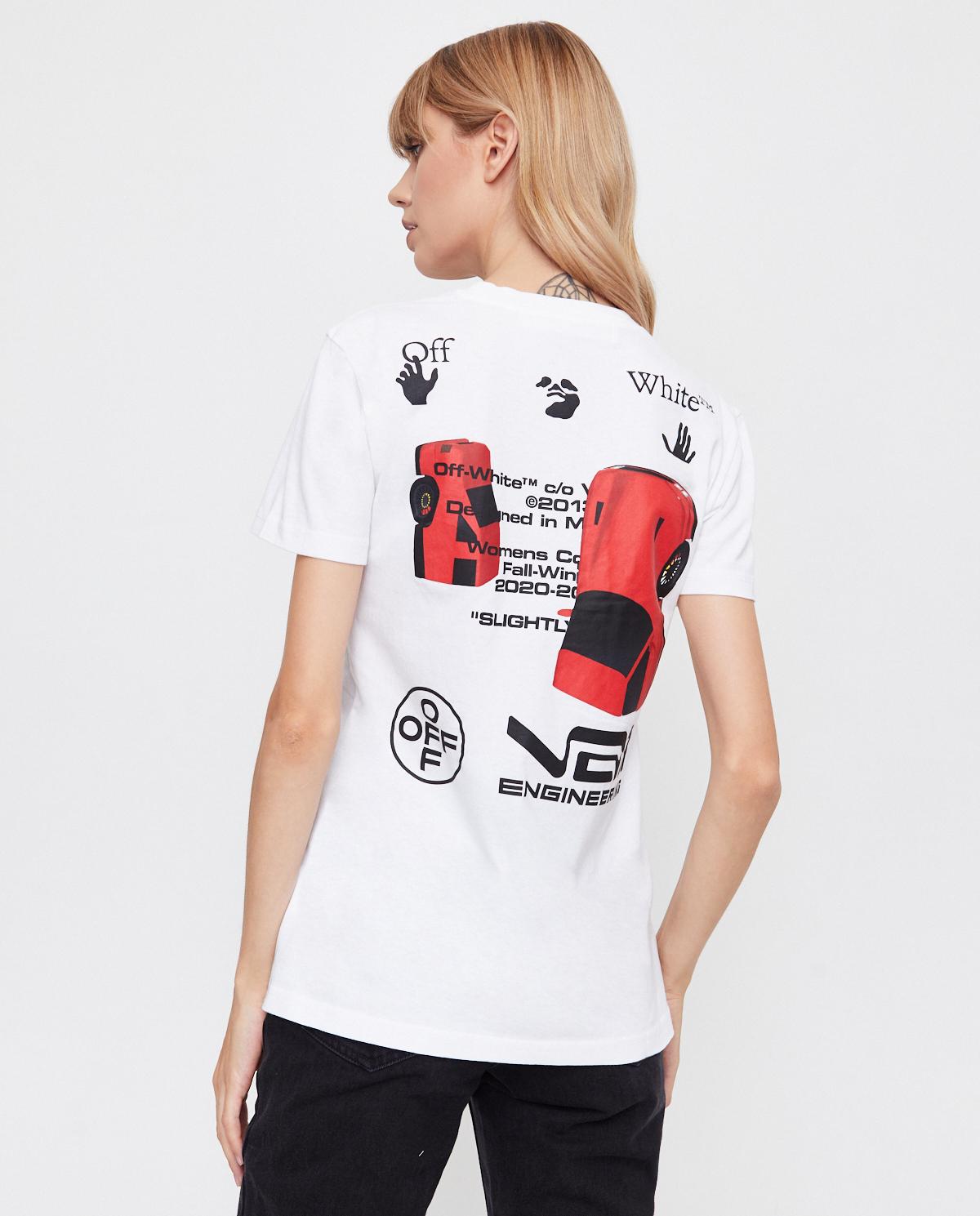 Damski biały t-shirt z grafiką na plecach Off-white OWAA049F20JER0130110