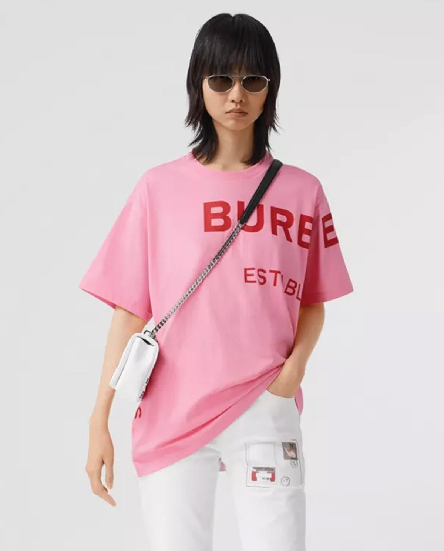 Damska różowa koszulka z nadrukiem Burberry W8030788 A8407
