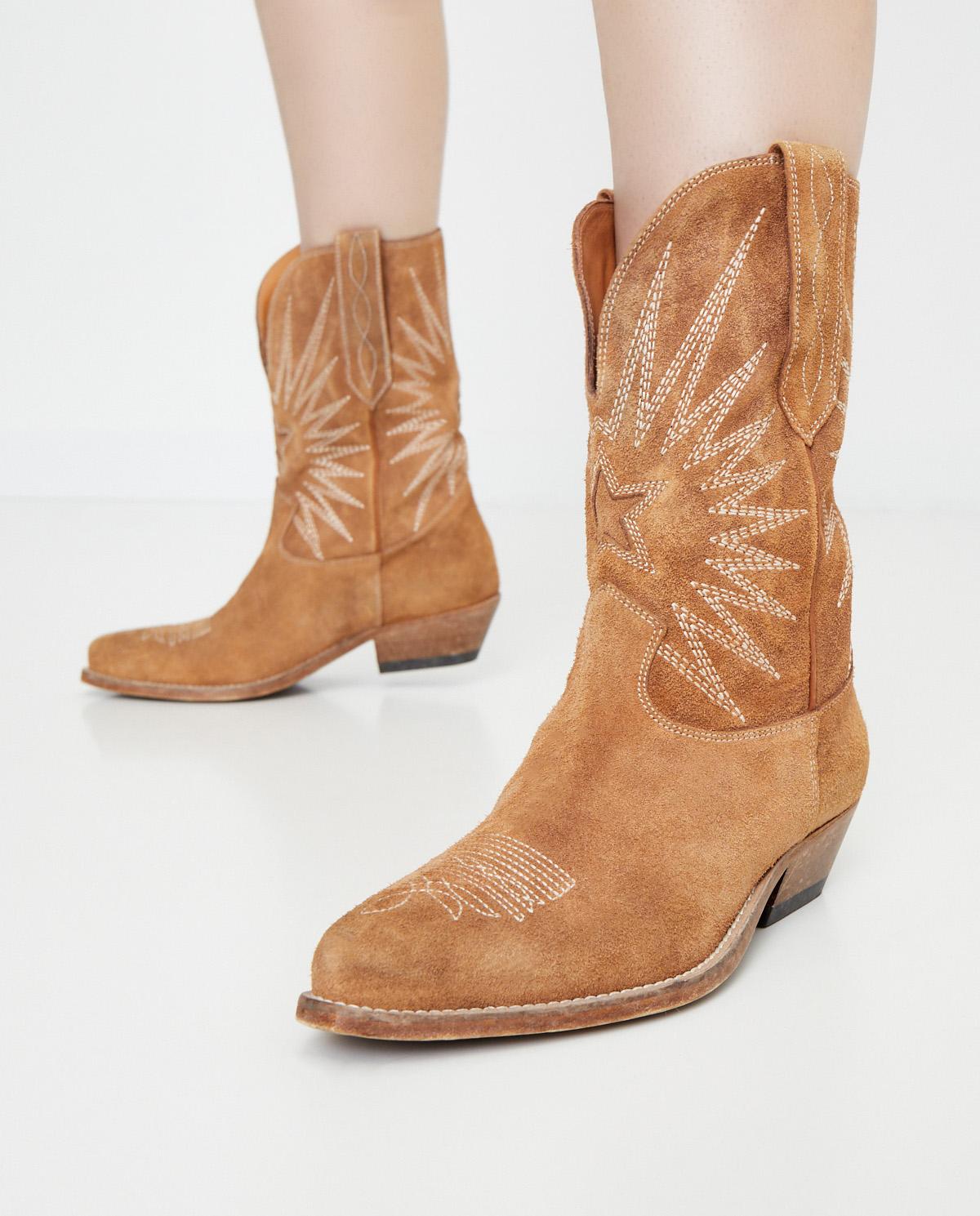 Damskie brązowe zamszowe kowbojki Star Golden Goose GWF00136 55368
