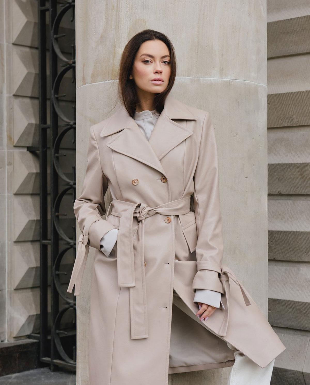 Damski bladoróżowy płaszcz z wegańskiej skóry Dollina DOU/VEG/PAL PALE MAUVE