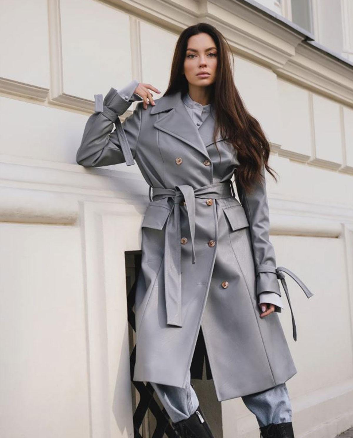 Damski szaroniebieski płaszcz z wegańskiej skóry Dollina DOU/VEG/TRA TRADEWINDS