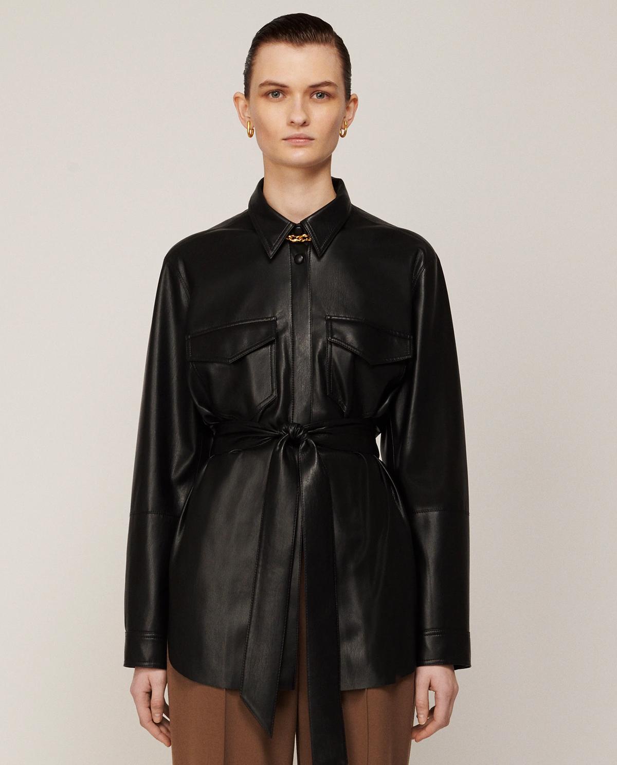 Damska czarna kurtka z wegańskiej skóry Artha Nanushka ARTHA BLACK