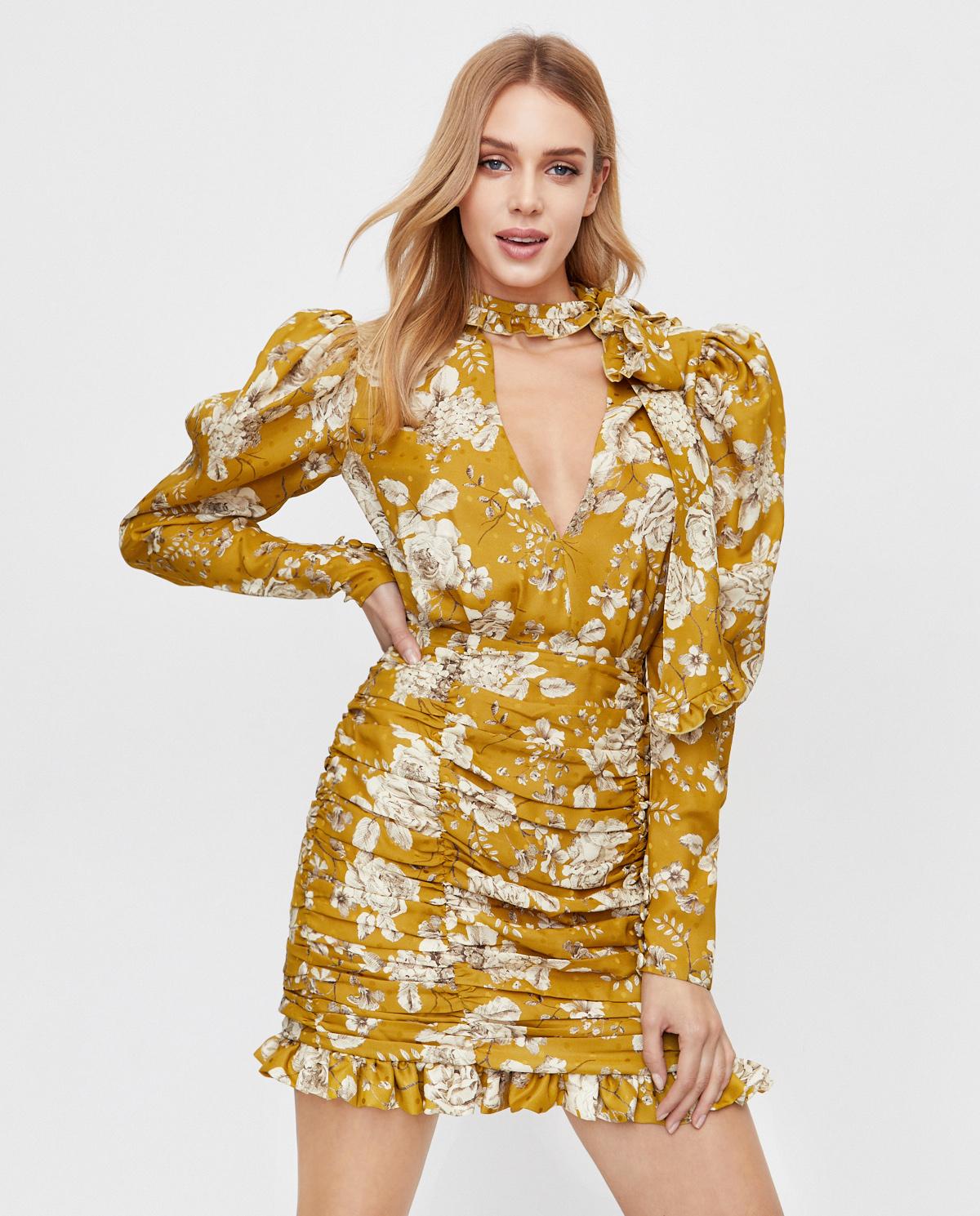 żółta sukienka w kwiaty Marianna Senchina MS/FW2021-316D OLIVE