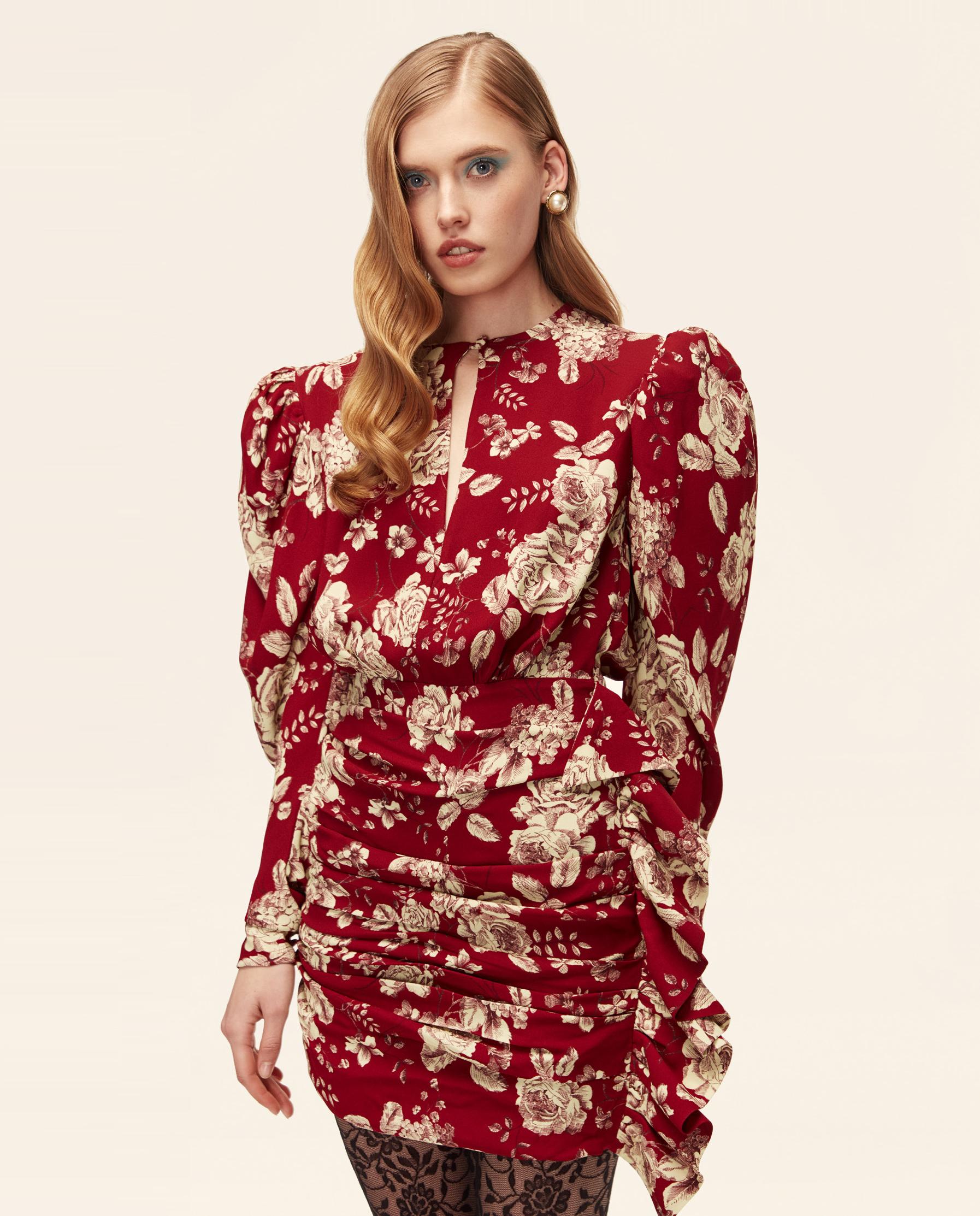 bordowa sukienka w kwiaty Marianna Senchina MS/FW2021-314D BORDEAUX