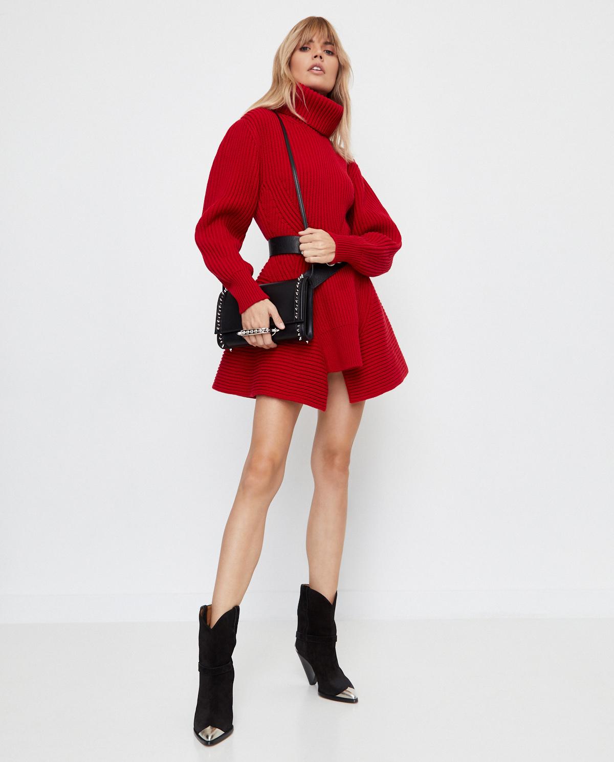 Czerwona sukienka z golfem Alexander McQueen 633688 Q1AQ1 6610