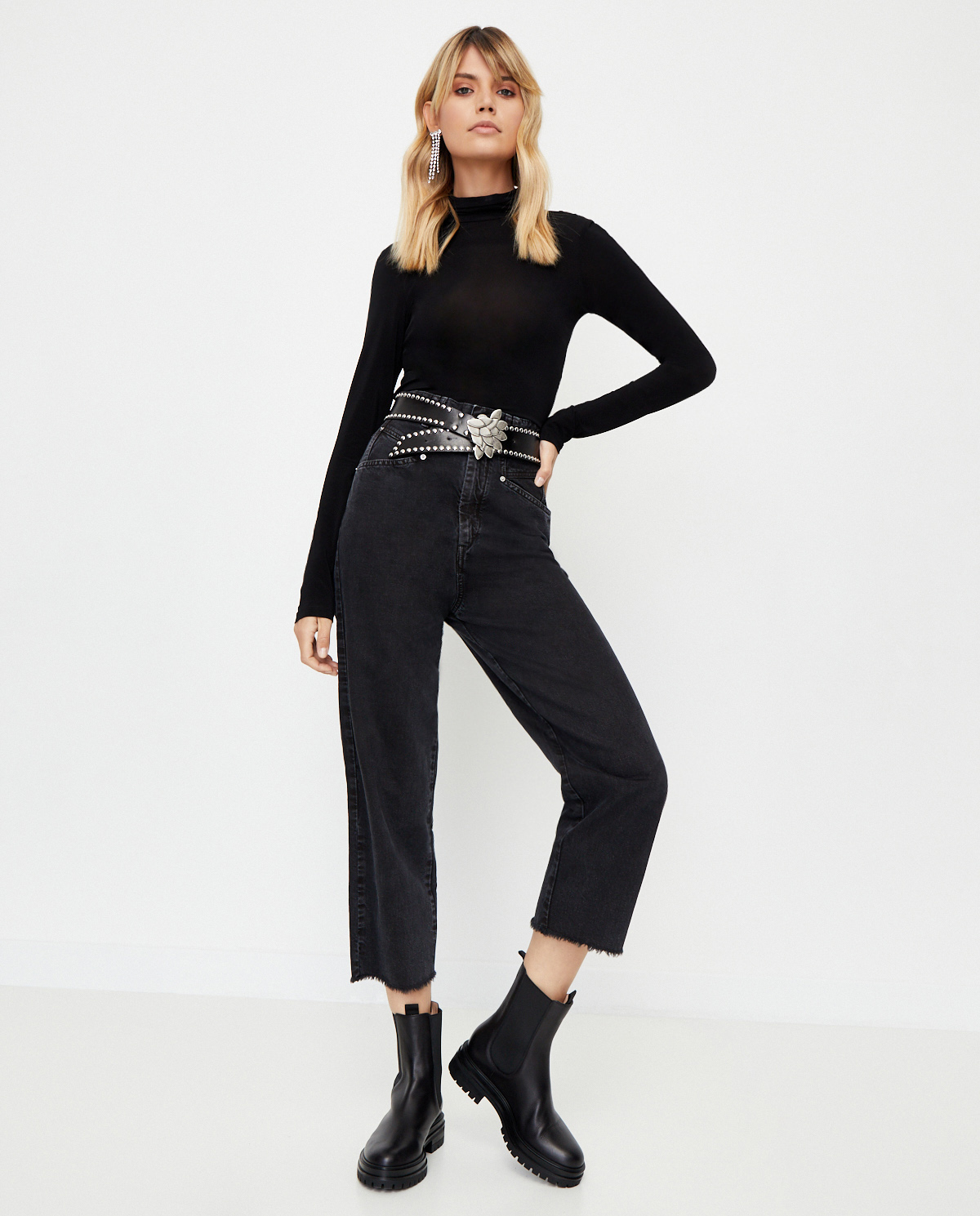 Czarne jeansy Naliska z wysokim stanem Isabel Marant PA1748-20A022I 02FK