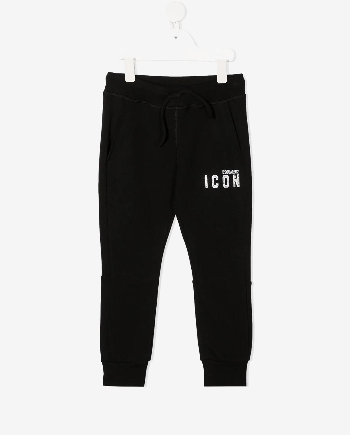 Czarne spodnie z bawełny 4-16 lat Dsquared2 Kids