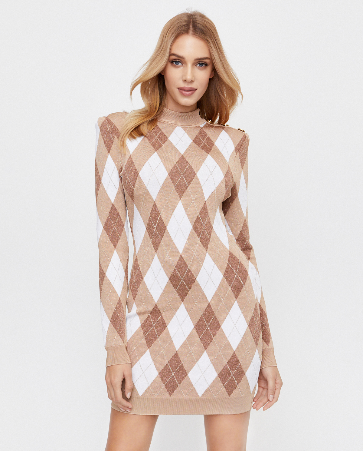 Sukienka mini w romby Balmain UF06232K196 GCC