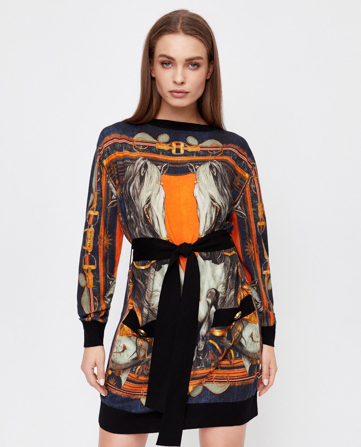 Wełniana sukienka z grafiką Balmain UF06265K184 EAH