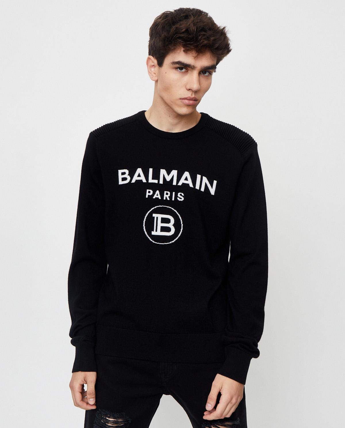 Czarny wełniany sweter z logo Balmian UH13405K005 EAB