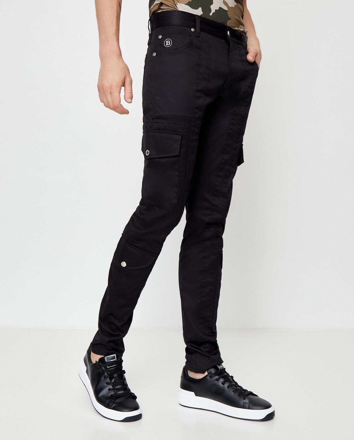 Czarne jeansy cargo Balmain UH15377Z043 0PA