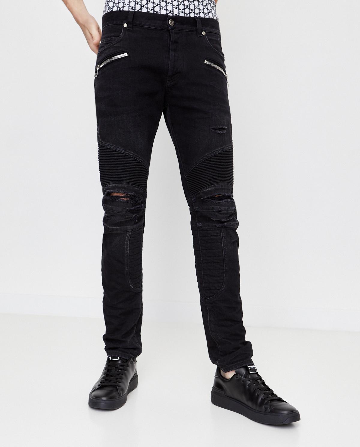 Czarne spodnie z monogramem Balmain UH15436Z128 0PA
