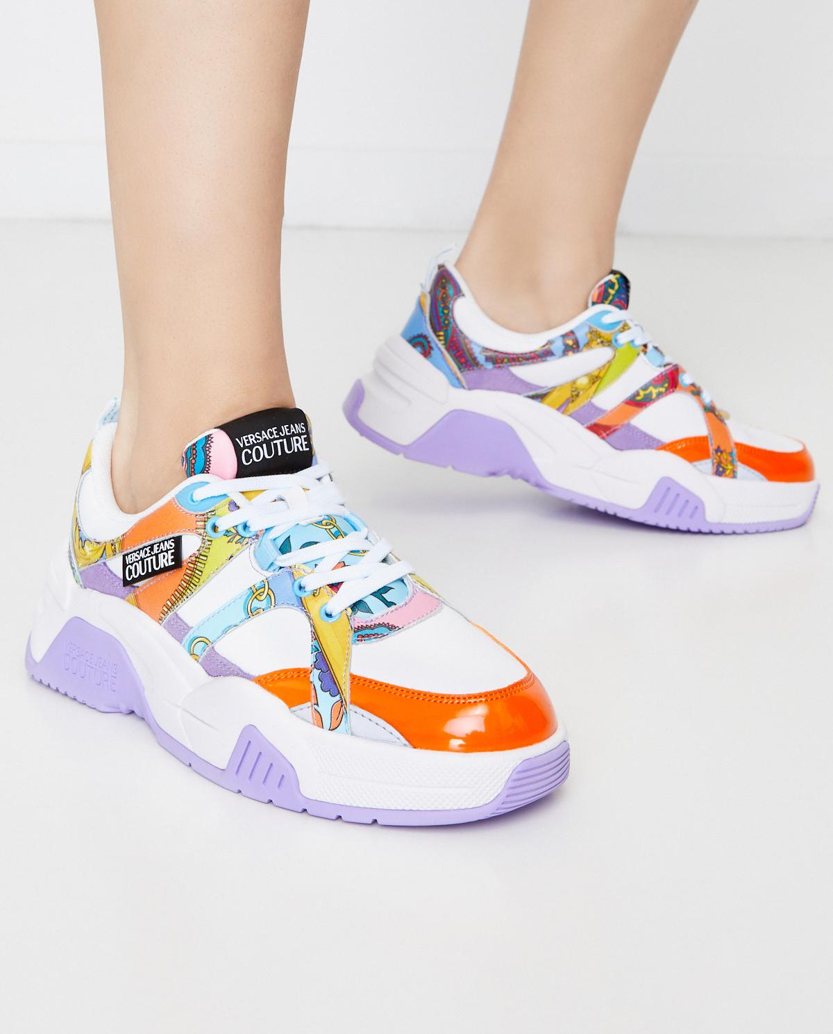 Kolorowe sneakersy na grubej podeszwie Versace Jeans Couture E0VZASF271616MD7