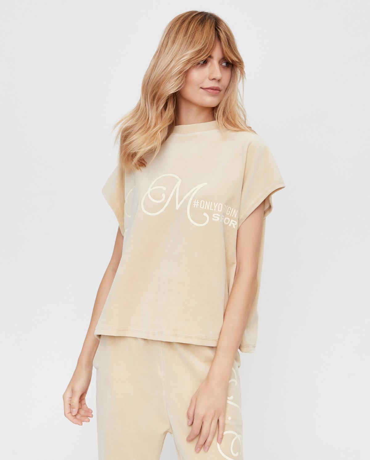 Beżowa bluzka z aksamitu Joanna Muzyk JMSPORTIZATOP BEIGE ONE SIZE