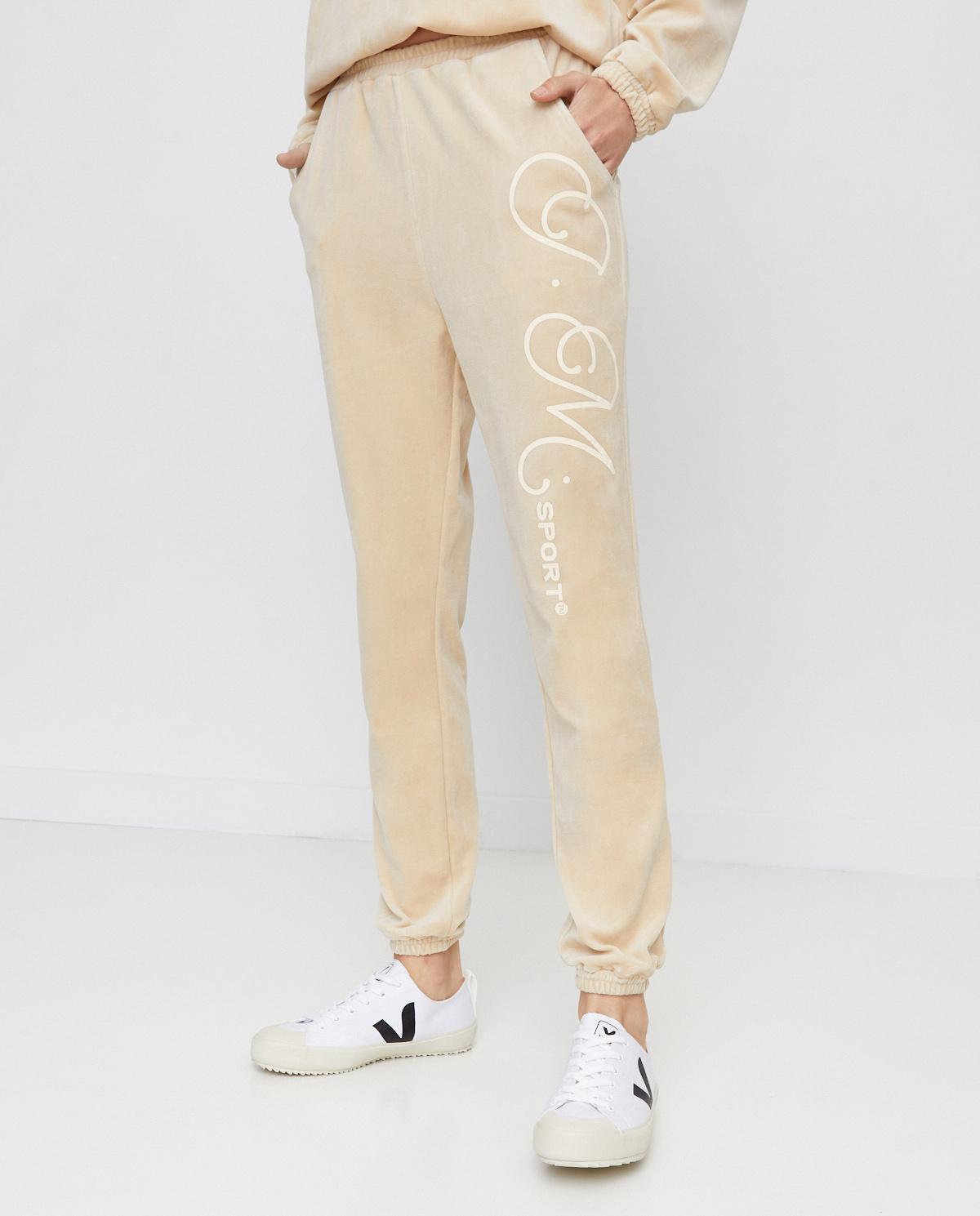 Beżowe spodnie z aksamitu Joanna Muzyk JMSPORTIZAPANTS BEIGE