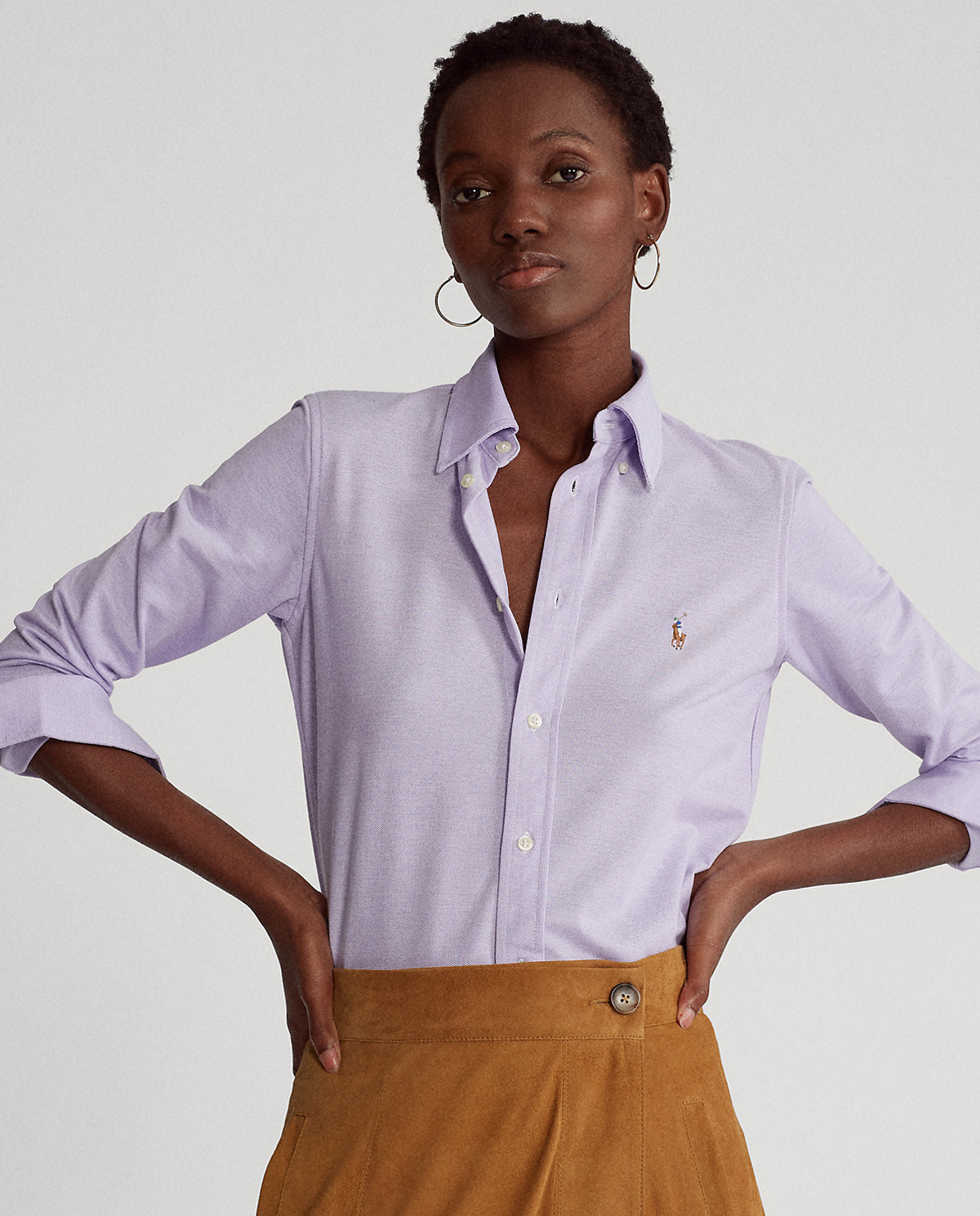 Liliowa koszula Oxford Slim Fit Polo Ralph Lauren 211664427019