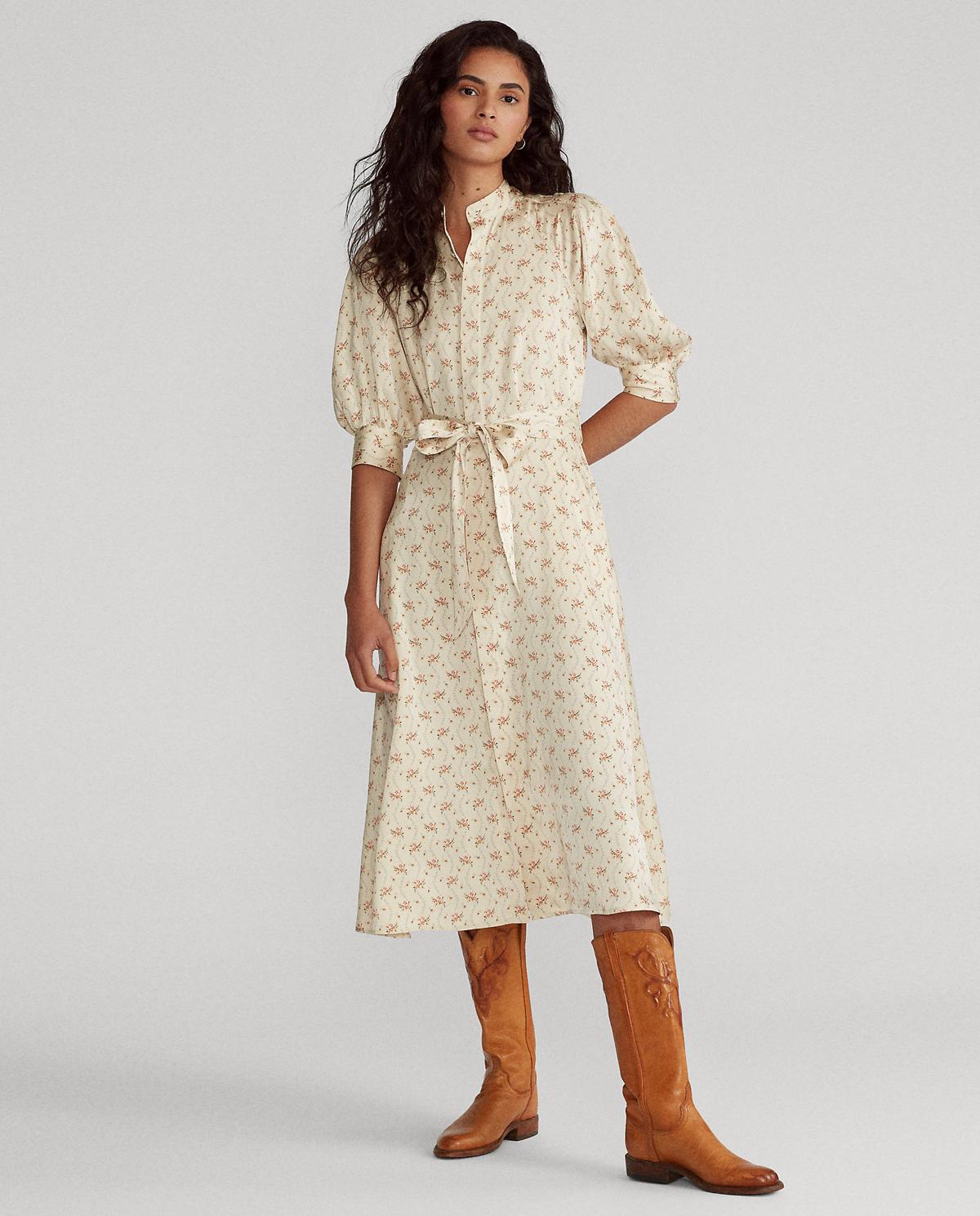 Satynowa sukienka w kwiaty Polo Ralph Lauren 211811569001