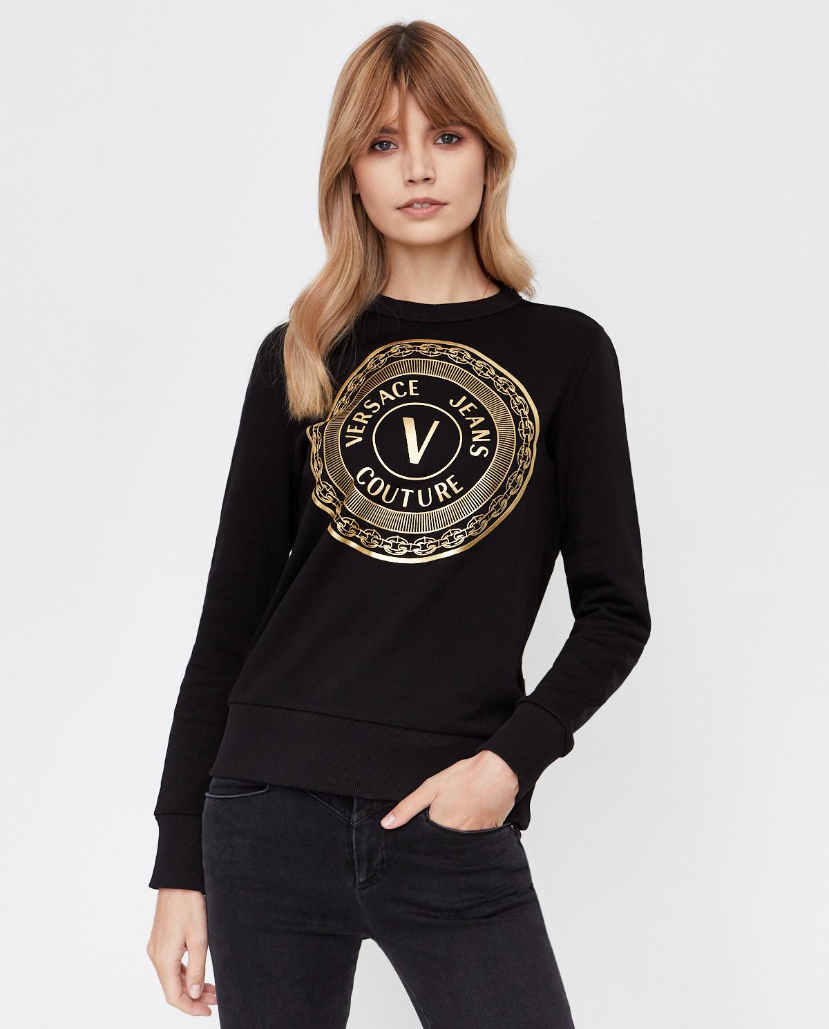 Czarna bluza z bawełny Versace B6HZA7TX30318K42