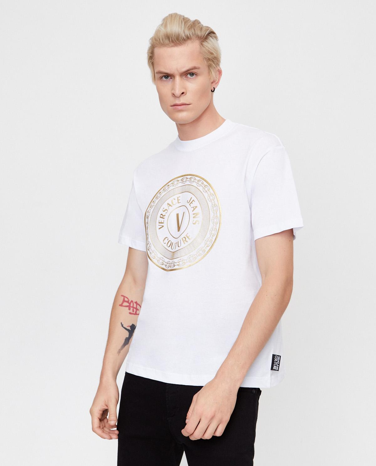 Biała koszulka z graficznym nadrukiem Versace B3GZA7TK30319K41