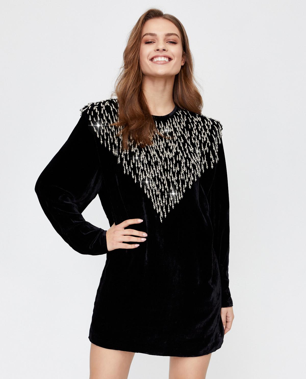 Aksamitna sukienka ze zdobieniem Isabel Marant RO1836-20H052I 01BK