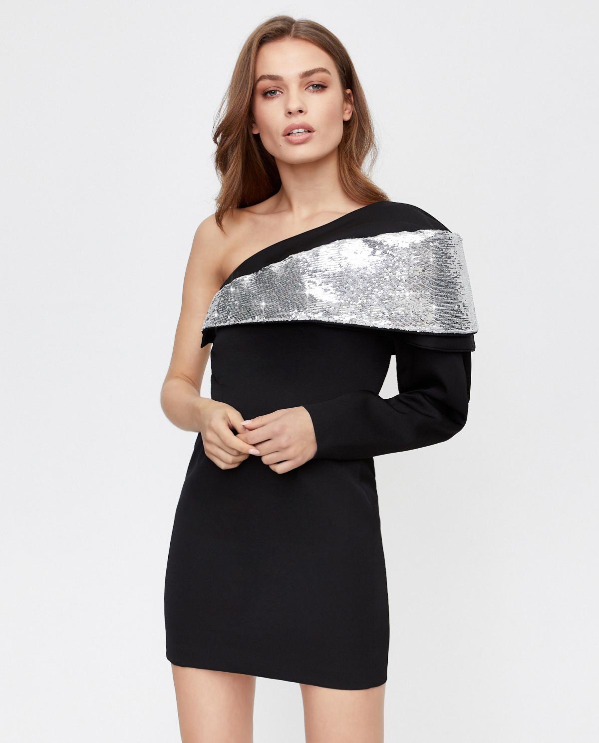 Wełniana sukienka na jedno ramię Isabel Marant RO1839-20H053I 01BK