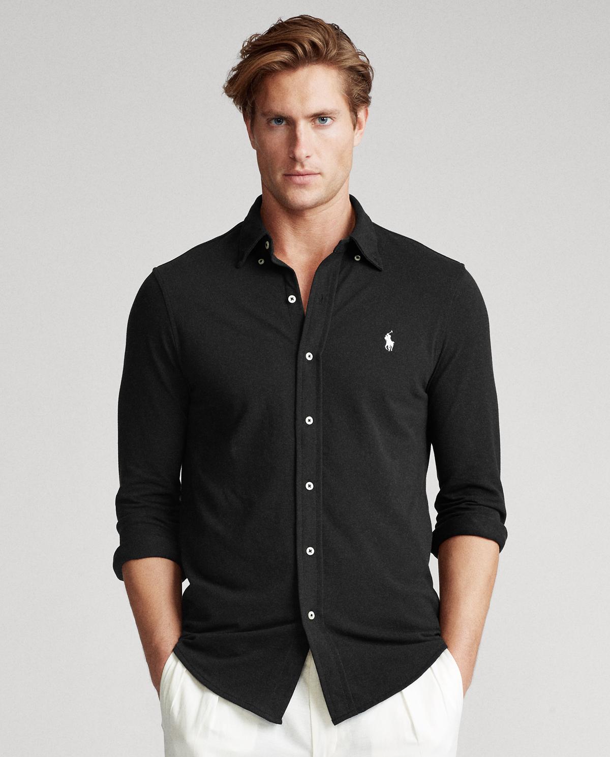 Czarna koszula Mesh Custom Fit Polo Ralph Lauren 710654408008