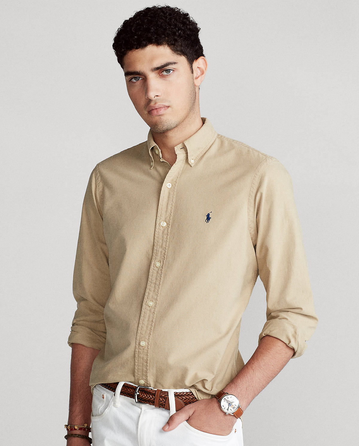 Beżowa koszula Oxford Slim Fit Polo Ralph Lauren 710804257005