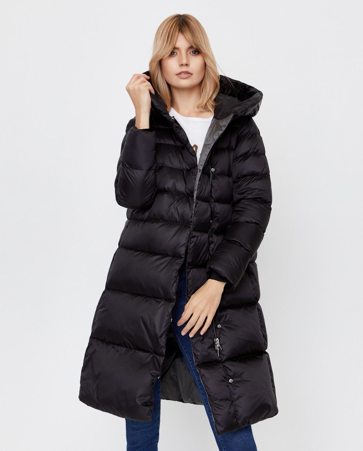 Czarny płaszcz puchowy Charlotte Hetrego 8I609 LVA