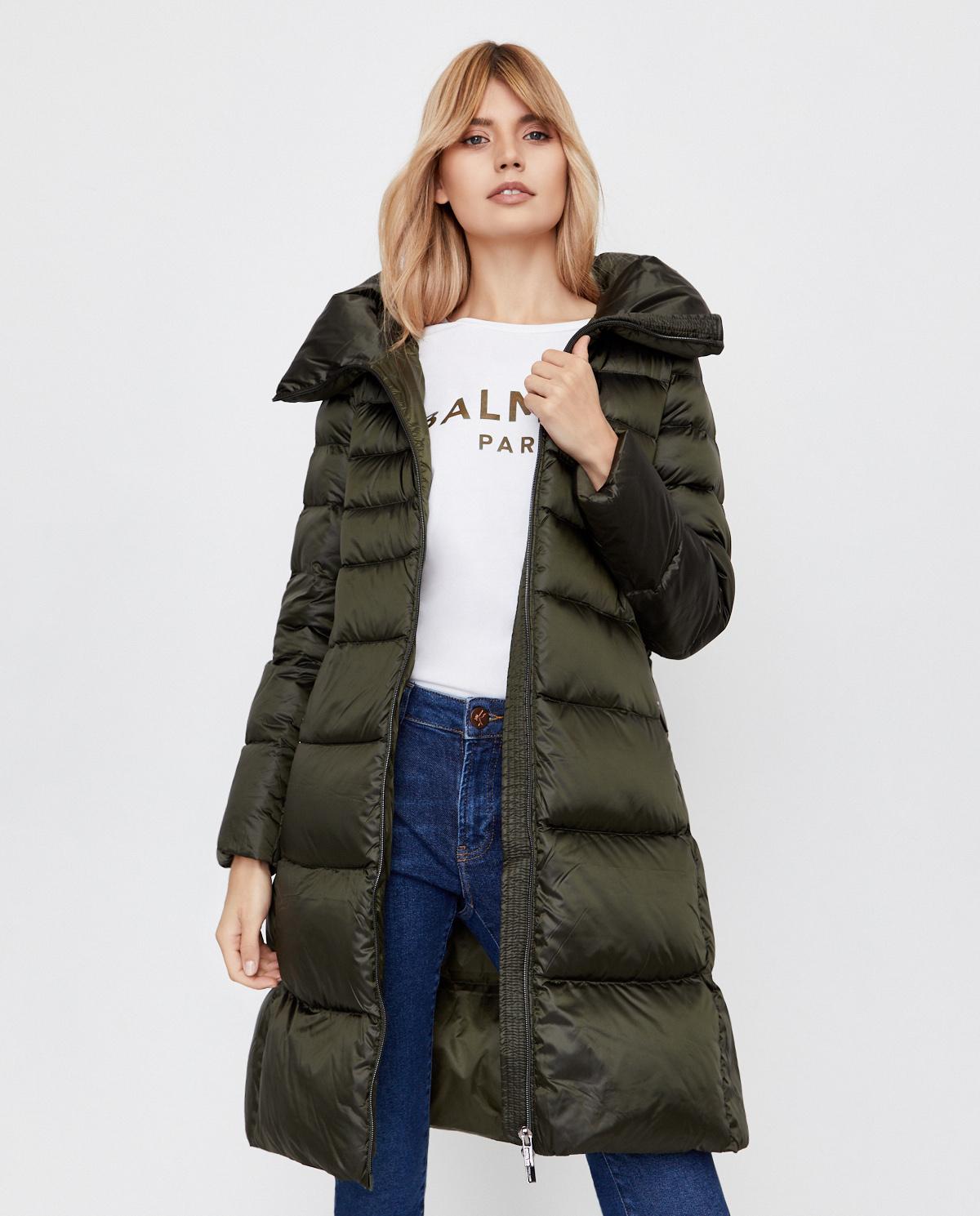 Zielony płaszcz puchowy Hetrego 8I603 FNGB