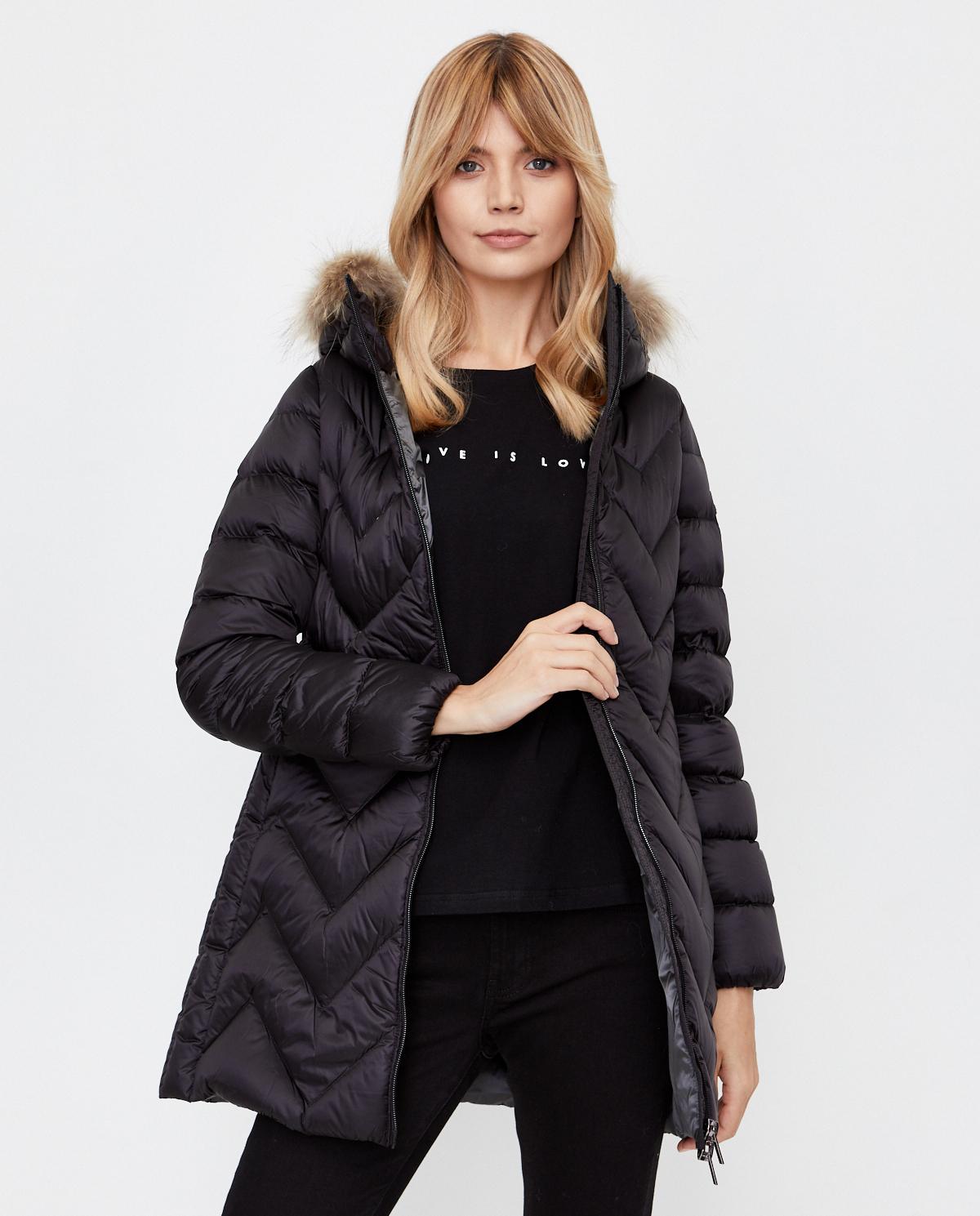 Czarny płaszcz puchowy Hetrego 8I713M LVA