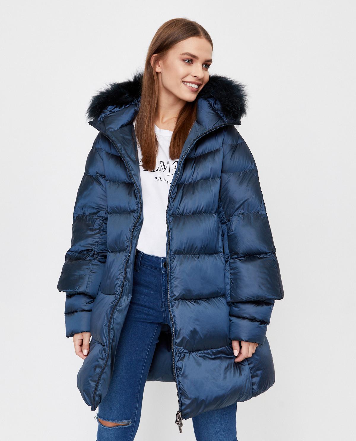 Niebieski płaszcz puchowy Hetrego 8I602F MDBB