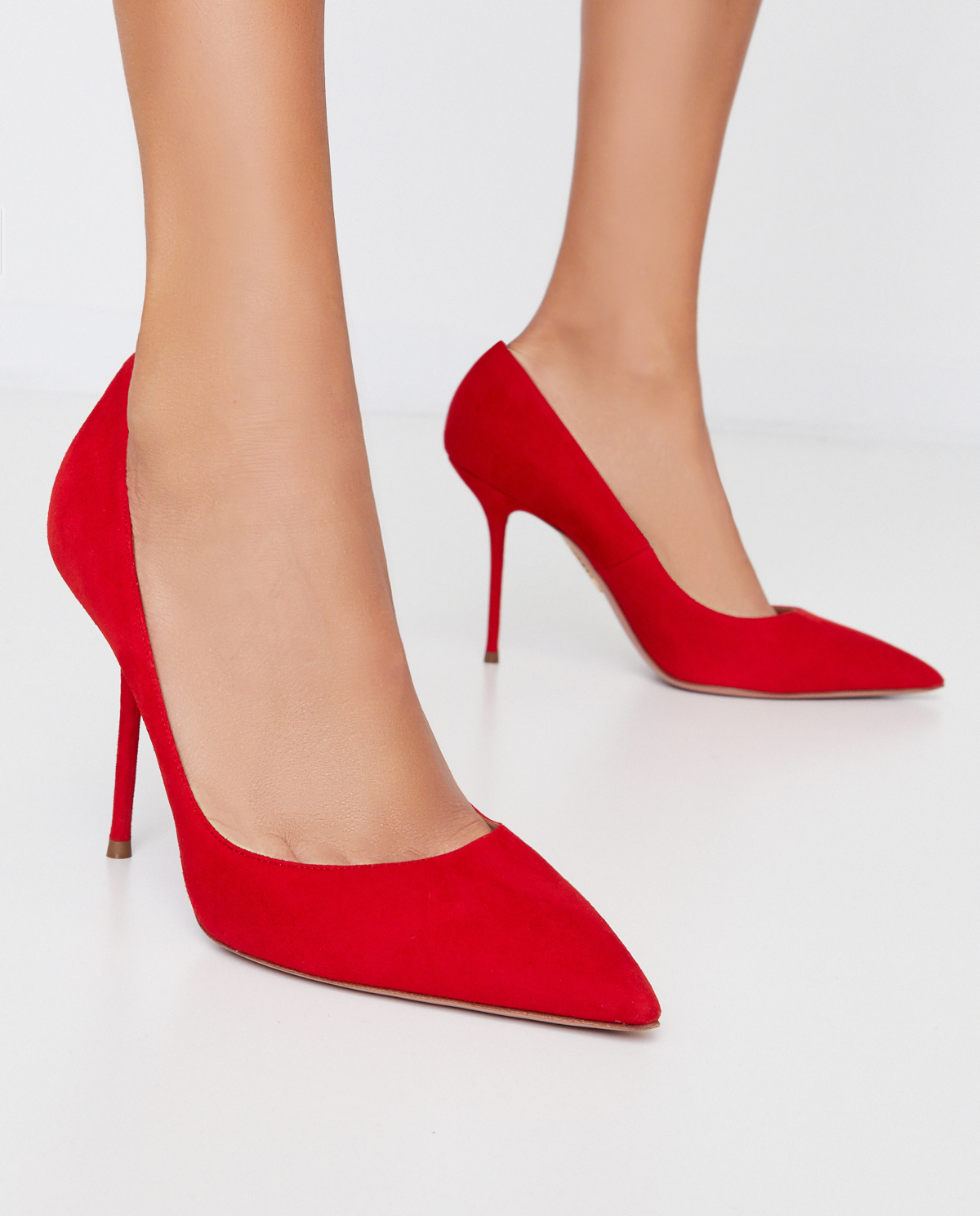 Czerwone zamszowe szpilki Purist Aquazzura PURHIGP0-SUE-F00