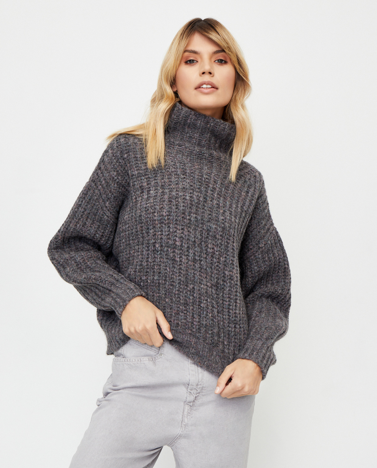 Szary sweter z golfem Iris Isabel Marant PU1413-20A042I 02AN