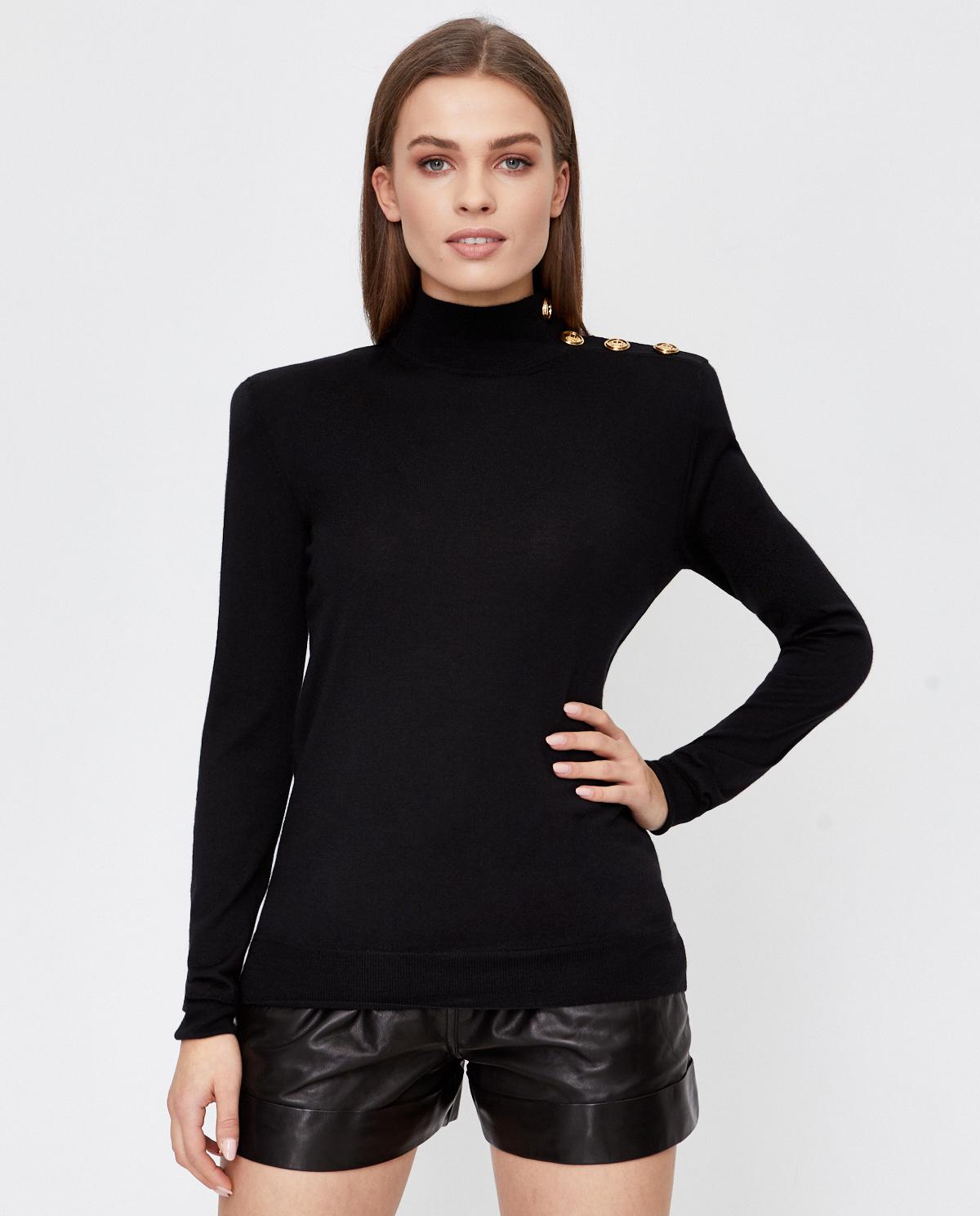 Czarny wełniany sweter Balmain UF03235K209 0PA