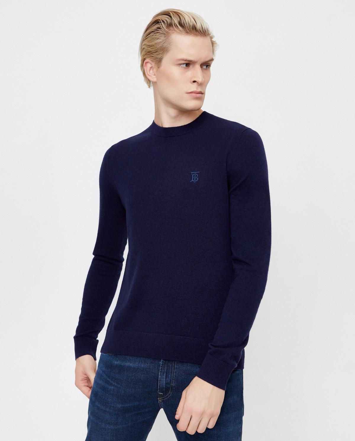 Granatowy sweter z kaszmiru Burberry M8032104 A1222