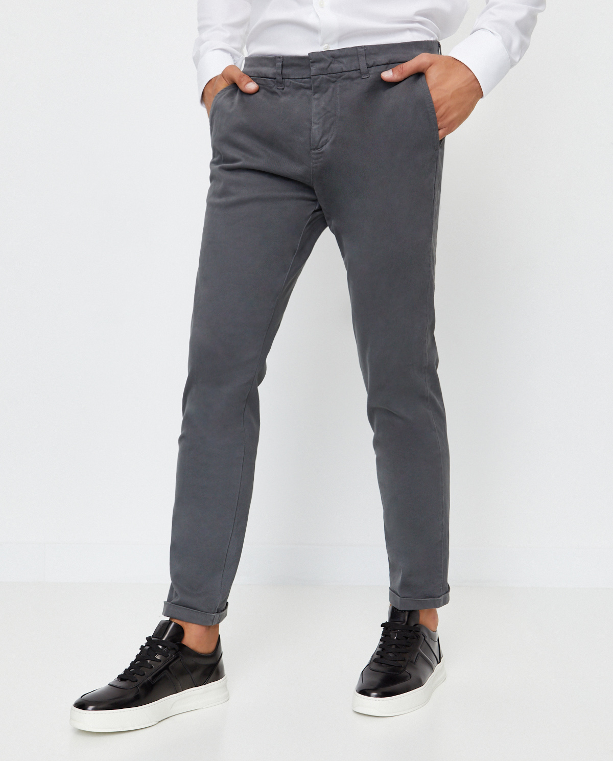Męskie szare spodnie chino Fay NTM8641187TQGGB406