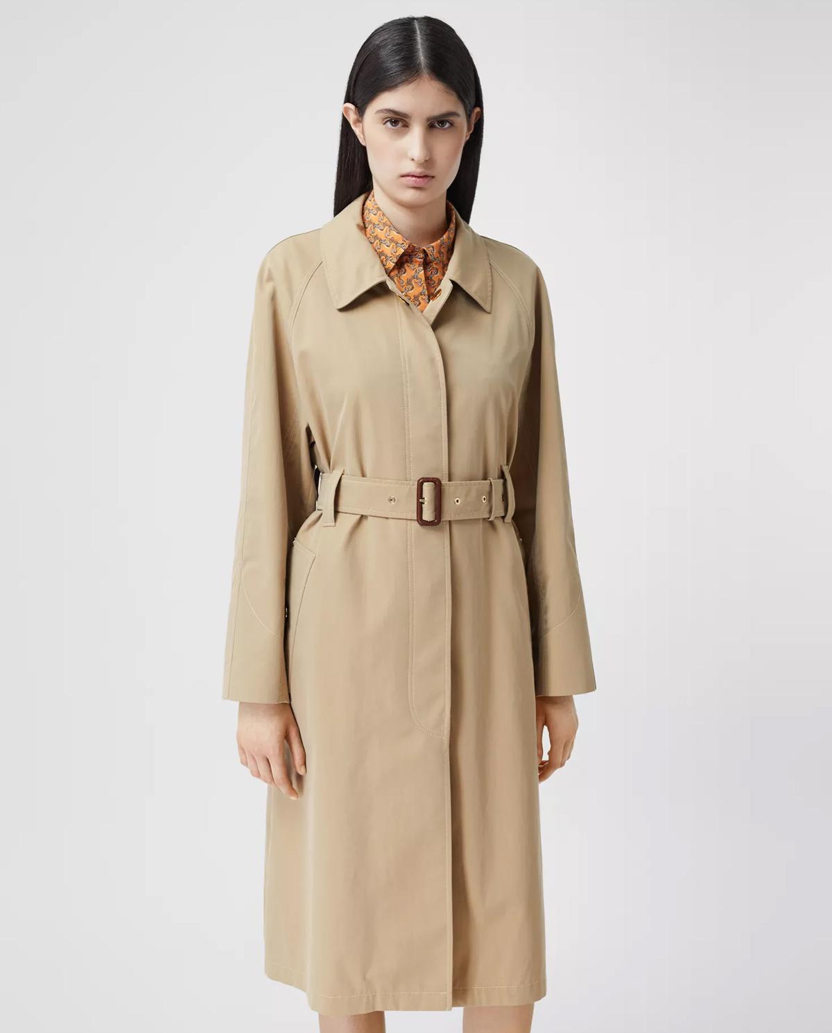 Beżowy płaszcz z gabardyny Burberry