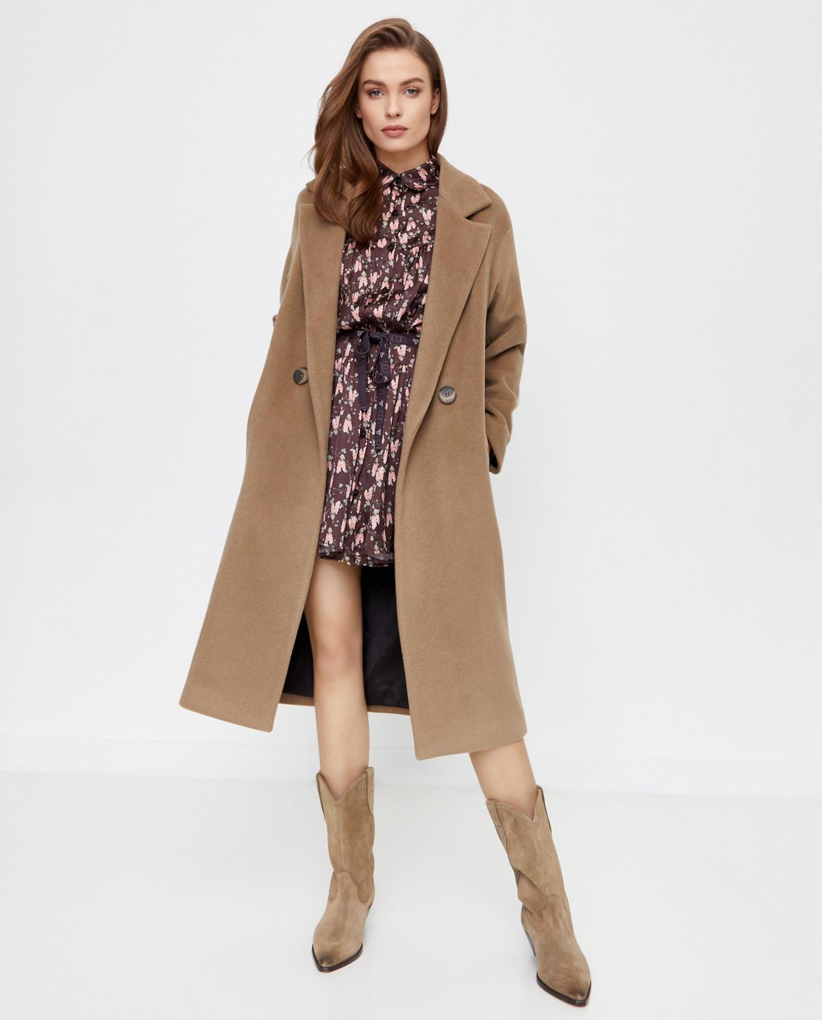 Beżowy płaszcz z wełny i kaszmiru Icon ICON COAT CAMEL