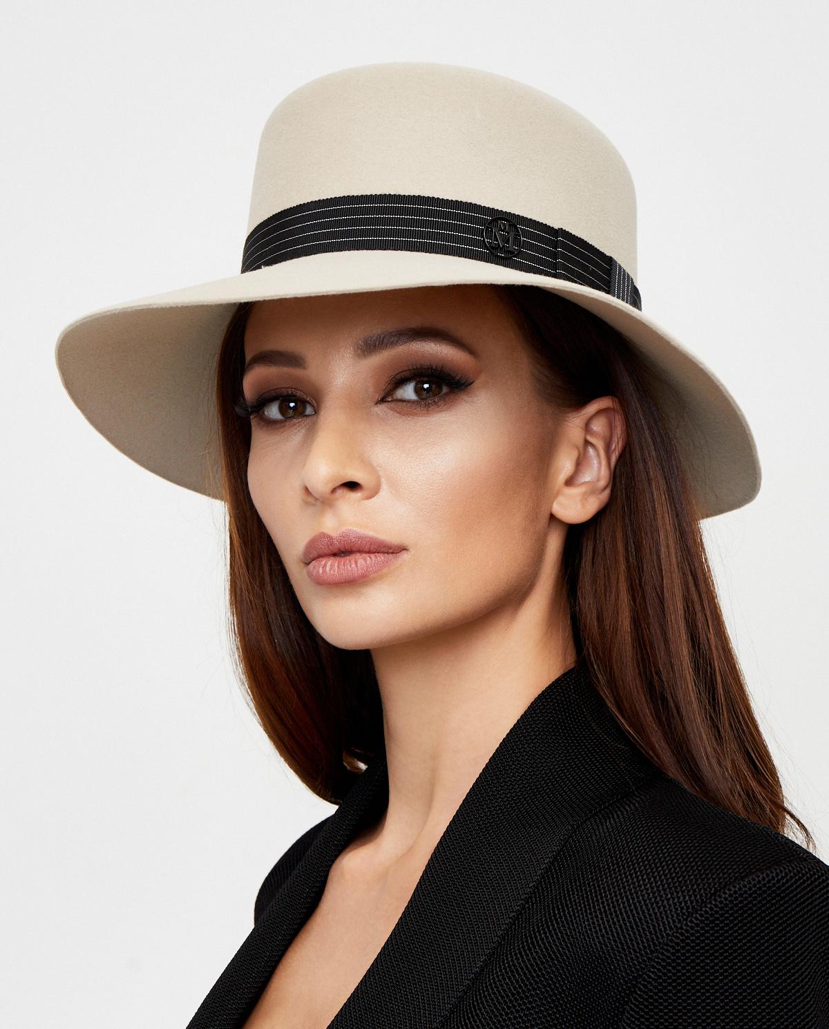 beżowy kapelusz damski Maison Michel Paris 1064034001 BEIGE