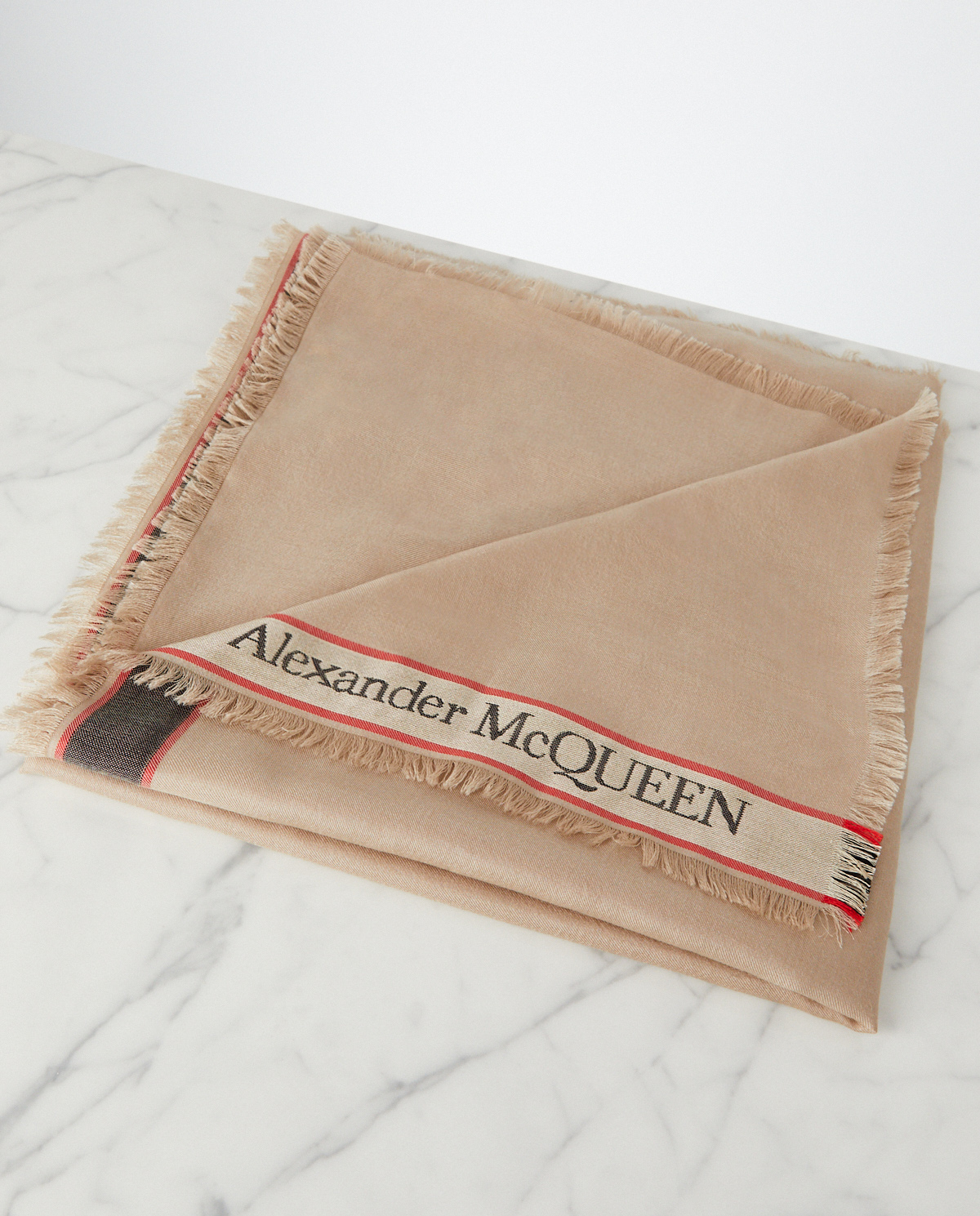 beżowa chusta z logo Alexander McQueen 615895 3807Q 9874