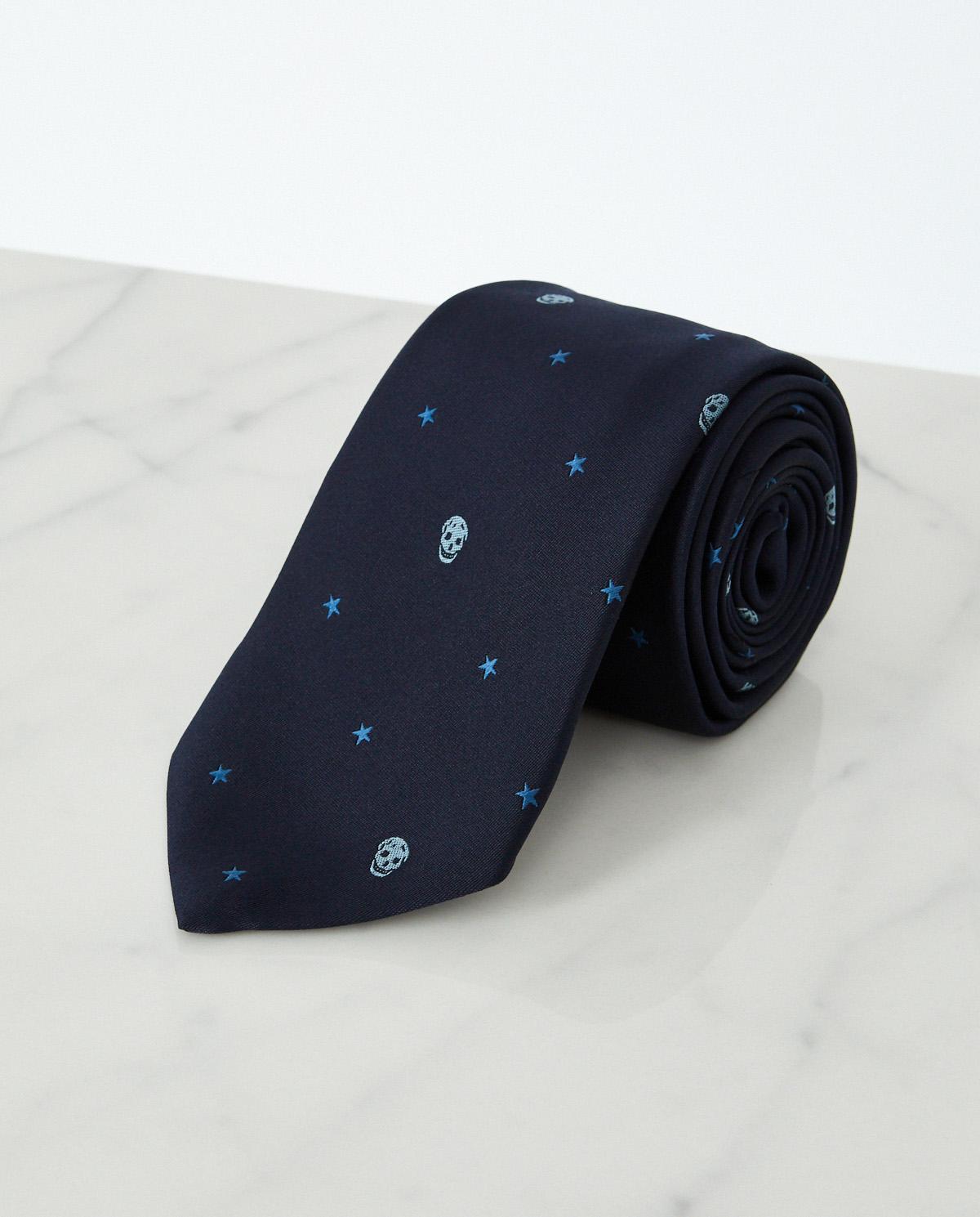 Krawat w czaszki z jedwabiu Alexander McQueen 623107 4002E 4169