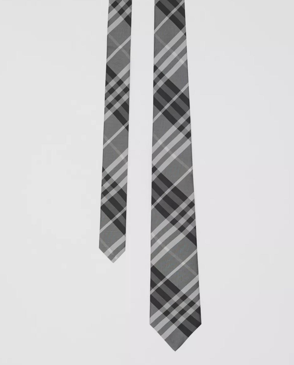 Szary krawat w kratę Burberry M8029932 A1388