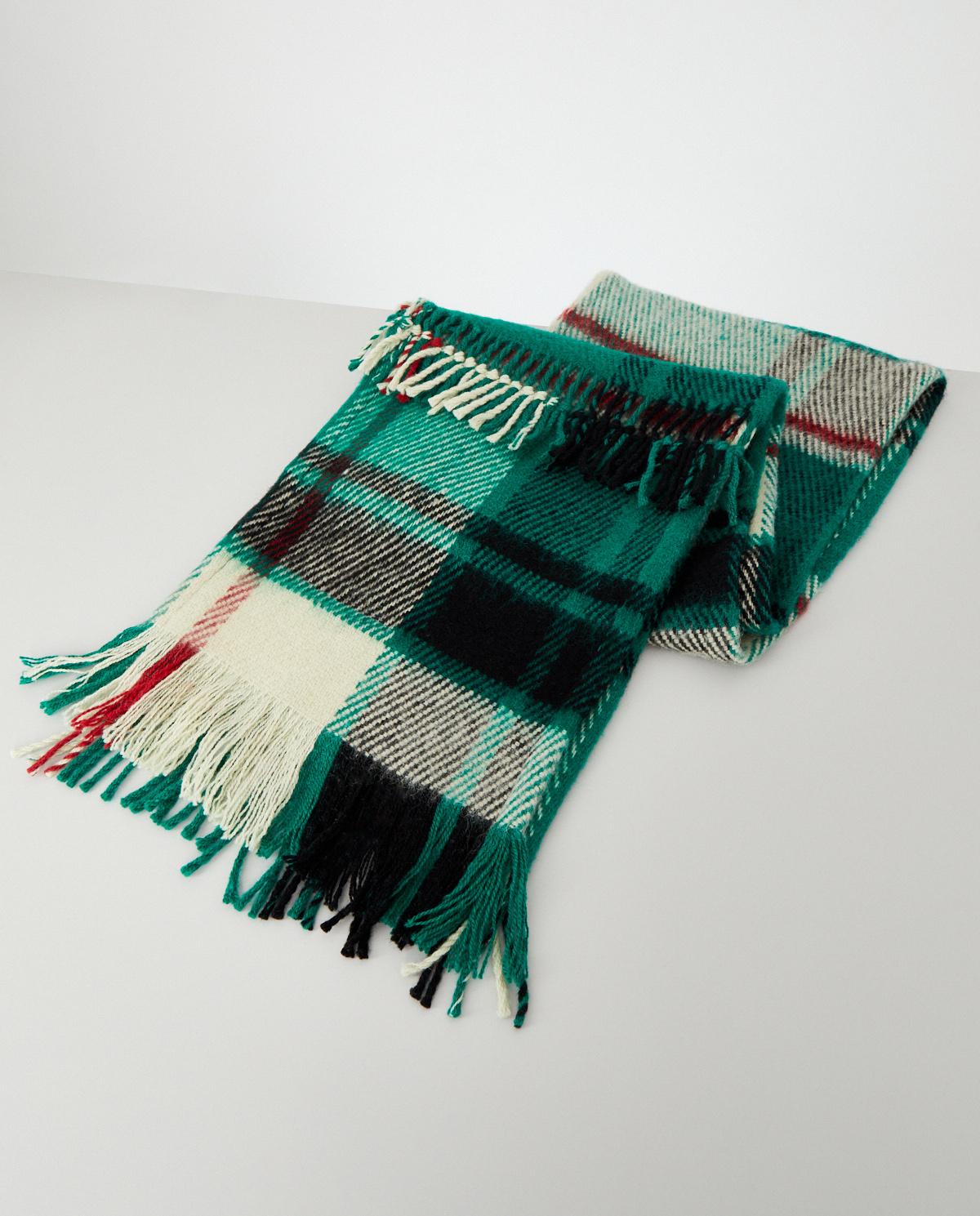Zielony szalik w kratkę Ruslan Baginskiy SKR007-W GREEN