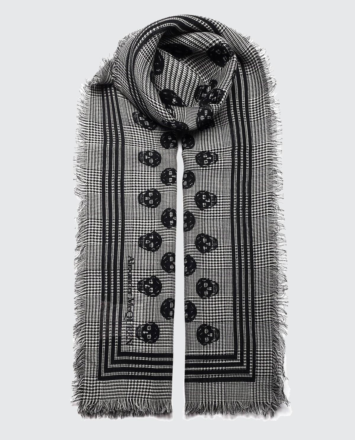 Wełniany szalik z czaszkami Alexander McQueen 623108 4C50Q 1078