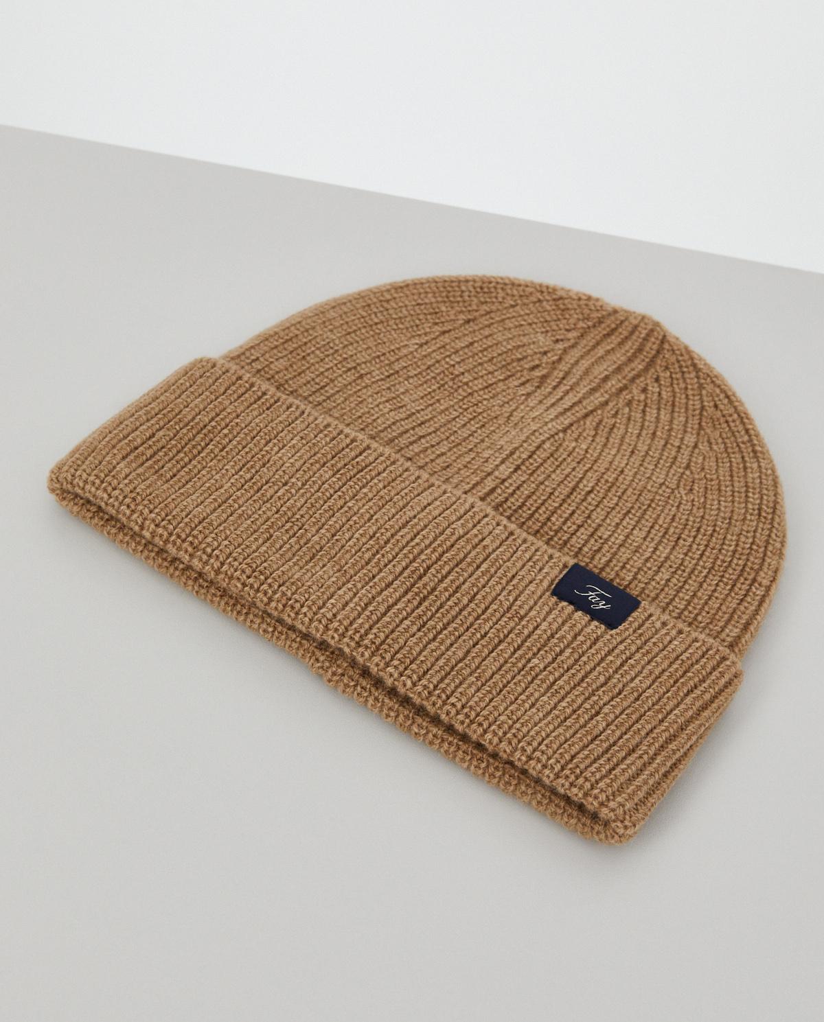 Beżowa czapka z wełny Fay N7MF3413000TBSC813