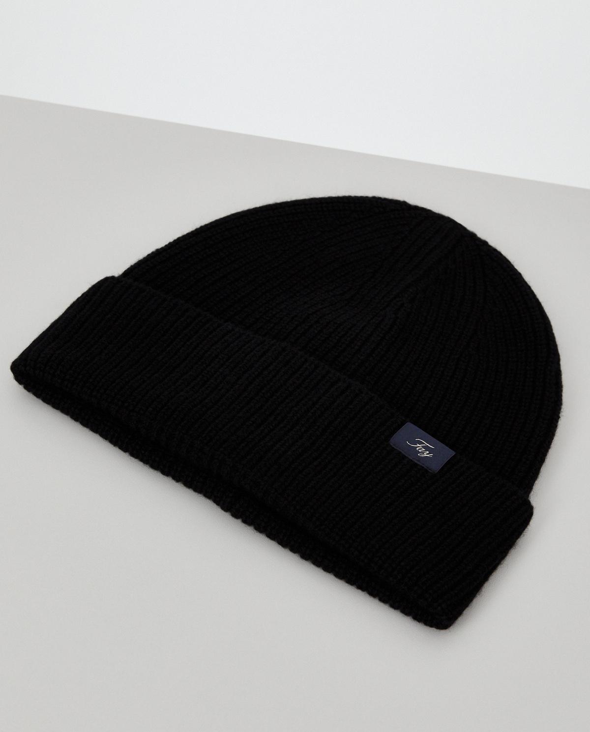 Czarna czapka z wełny Fay N7MF3413000TBSB999