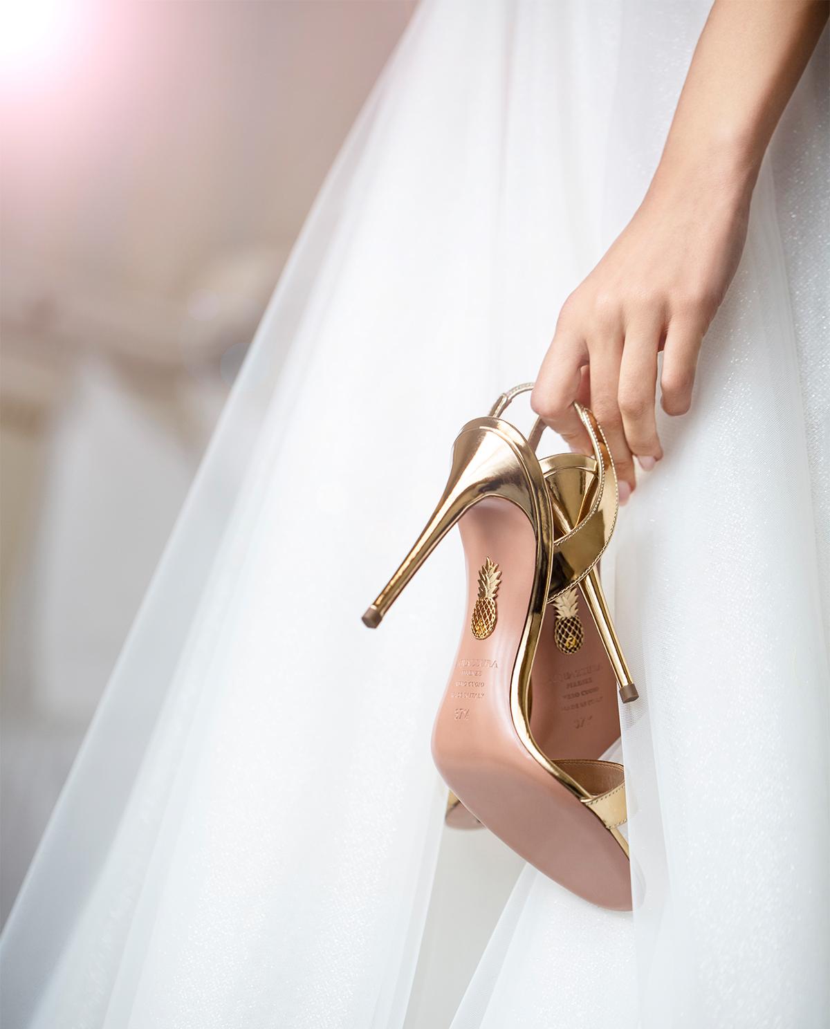 Złote sandały So Nude Aquazzura