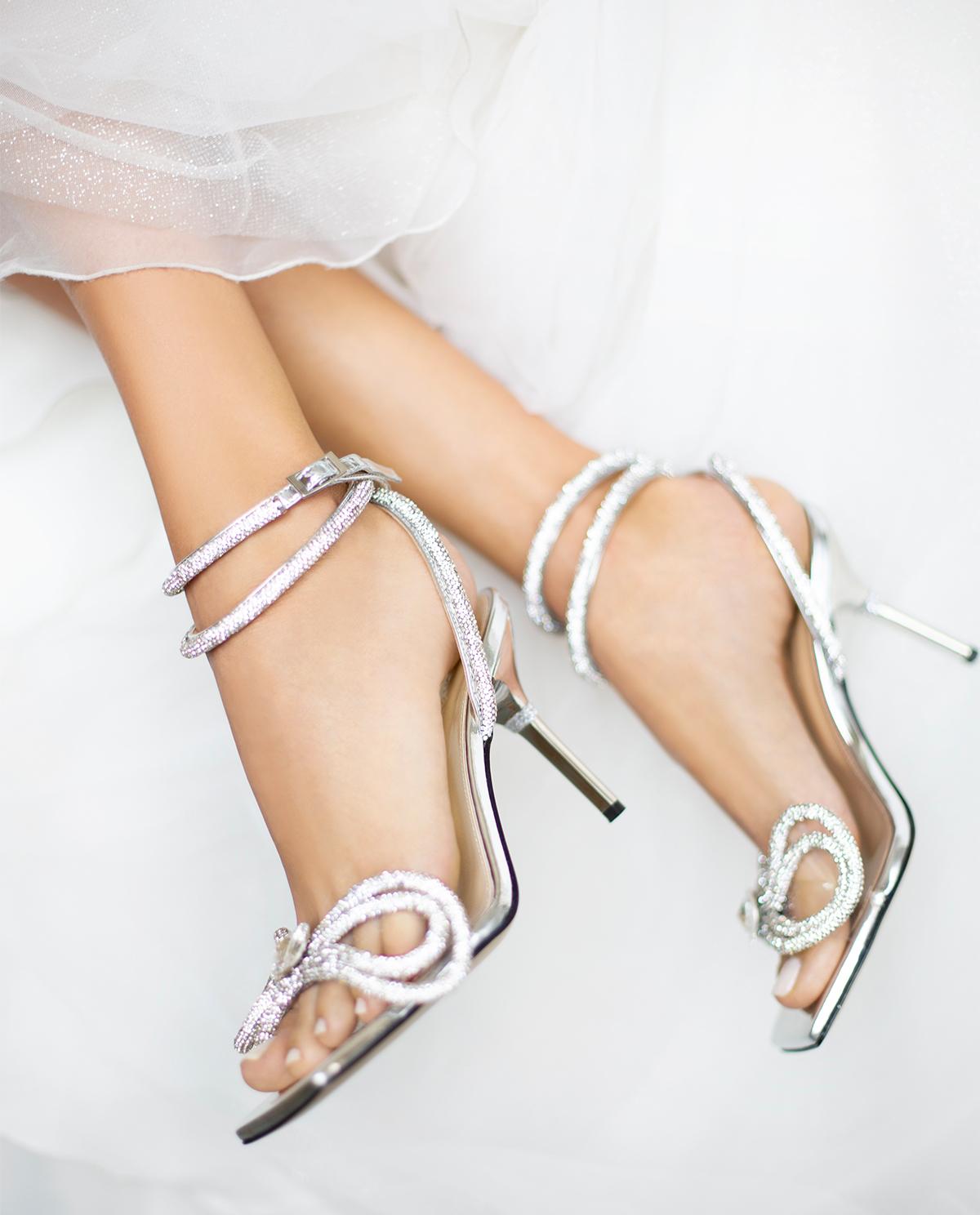 Kryształowe sandały na szpilce Mach&Mach